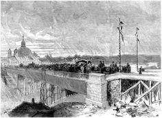Madrid: Grabado que representa el traslado de los restos de Calderón de la Barca a su paso por el antiguo viaducto