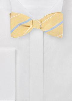 Vintage Yellow Self Tie Bow Tie