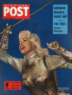 American actress Jayne Mansfield brandishes a silver sword on the cover of Picture Post magazine The headlines above read 'Brendan Behan's Night Out'. Action Pictures, Stock Pictures, Movie Magazine, Life Magazine, Magazine Pictures, Jayne Mansfield, Mariska Hargitay, Celebrity Moms, Vintage Advertisements