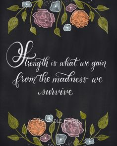 Chalkboard inspirational strength quote - Strength is what we gain from the madness we survive.