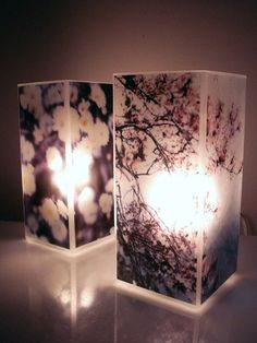 Photo Lamps. I would love to do this with my own photographs of Canada's boreal forest and great lake shore.