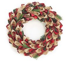Burlap Wreath - no tutorial - I'm assuming easy loops and hot glue with some sprigs.