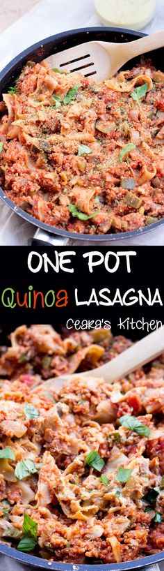 One Pot Quinoa Lasagna: A meaty, comforting + stick-to-your-bones One Pot Quinoa Lasagna. The quinoa make this dish so incredibly hearty + delicious! #OnePotMeals #MeatlessMonday #Healthy #Vegan #GlutenFree #EasyMeals