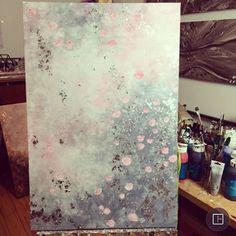 """Gefällt 2,979 Mal, 58 Kommentare - Ines  (@itsonlylove_) auf Instagram: """"Blumenliebe ✨ Acryl auf Leinwand (60x90cm) mit rosa, weiß, grau und Blattsilber #itsonlyloveart…"""""""