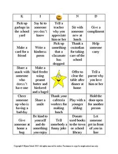 "$1 Random Acts of Kindness ""KIND"" Bingo"