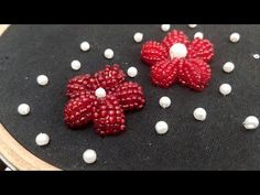 (7) 3D Bead/Pearl Flowers (Hand Embroidery Work) - YouTube Embroidery Suits, Hand Embroidery Stitches, Embroidery Jewelry, Hand Embroidery Designs, Beaded Embroidery, Designs For Dresses, Thread Work, Simple Art, Needlework
