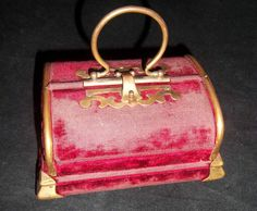 Antique Victorian Red Velvet Vanity Sewing Box with Bone Needle Holder | eBay