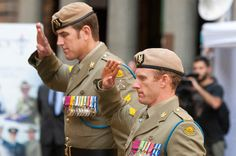 CPL Donaldson, VC and CPL Roberts-Smith, VC, MG salute the Cenotaph
