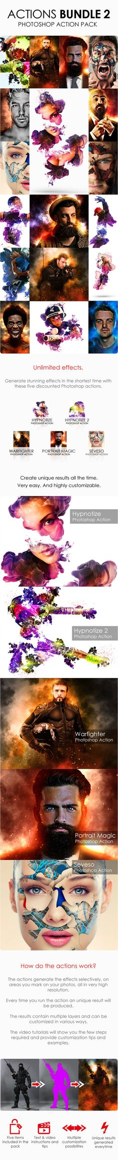 Actions Bundle 2 Five Photo Effect Photoshop actions. Download here: http://graphicriver.net/item/actions-bundle-2/14727487?ref=ksioks