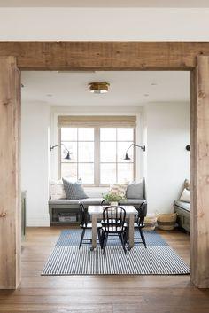 Wooden Beams Ceiling, Faux Wood Beams, Cottage Living Rooms, Home Living Room, Rustic Living Rooms, Framing Doorway, Living Room Remodel, Family Room, New Homes
