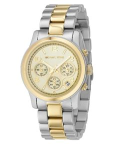 Michael Kors Womens MK5137 TwoTone Runway Watch ** Read more reviews of the product by visiting the link on the image.
