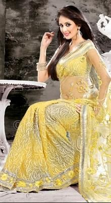 Fascinating Gold Color Embroidered Saree