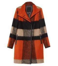 Les Copains Check Wool Coat - ShopBAZAAR