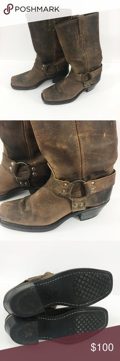 🎈SALE ONE DAY 🎈Frye Brown Leather harness boots Brown leather boots with harness . Has usual wear which is seen on these type of boots like scratches  . The soles are in amazing condition look to be hardly worn . Have square toe . These are women's boots . Has a nice small - medium size heel . These are pull on style boots no zippers . Size 7.5 Frye Shoes Combat & Moto Boots