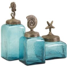 IMAX Home 20046-3 Sea Life Canisters- Set of 3 N/A Home Decor (€85) ❤ liked on Polyvore featuring home, home decor, blue home decor and sea life home decor
