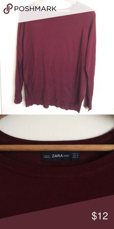 Lightweight Knit Sweater Burgundy dark red colored sweater. Cool hemline details. Only worn once from Zara never washed. Basically brand new. Zara Sweaters Crew & Scoop Necks