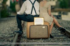 Vintage Luggage & Railroad Tracks - Vintage Engagement Session at the University of Tampa  by Tampa Wedding Photographer Ware House Studios
