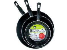 """Stainless Steel Non-Stick Frying Pan Set Enjoy cooking at home again with this set of three high quality Stainless Steel Non-Stick Frying Pans. These pans are a great alternative to the higher priced """"designer"""" alternatives and give you more options! Set includes 8"""", 10"""" and 12"""" pans. Thickness is 0.4mm."""