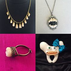 "New items in my ""Tooth Fairy Collection"" at www.etsy.com/shop/PurgatoryPlaything and I'm very excited to be working with 4 various types of teeth!!!!! For the curious cats: I use ACTUAL authentic human teeth, prosthetic teeth used specificity in dentures and high quality sculptors clay in which I sculpt the teeth by hand."