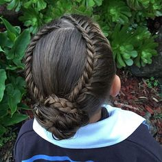 """""""Lace fishtails into a messy bun with 3 strand braid accents. Not sure why I continue to try fishtails on a school morning! Hope you all have a great day!"""" Photo taken by @prettylittlebraids on Instagram, pinned via the InstaPin iOS App! http://www.instapinapp.com (07/15/2015)"""