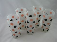Fire King Pink and Black Dot Frosted Tumblers by sputnikhousewares, $39.00