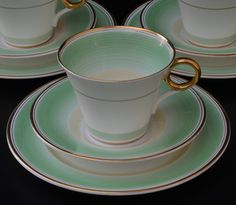 Three Shelley Art Deco Trios - 12521 - Green and Gold Bands - 1925 - 1945 | eBay