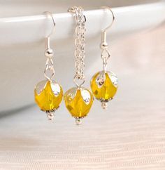 Yellow Bridesmaids necklace and earrings gift set by LaurinWedding, $14.00