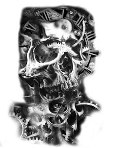 skull tattoo idea clock gears mechanical tattoo