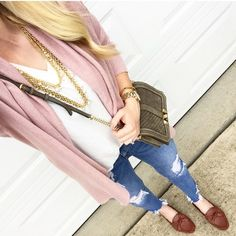 A blush cardigan is a MUST for every season! 💗 Loving it with a simple white tee   distressed denim! & These bow slides are to die for!! 🙌🏼  SHOP exactly what I'm wearing at the link in my profile! 💕 Or use @liketoknow.it http://liketk.it/2spRq #liketkit