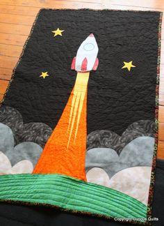 321 Launch - rocket ship quilt