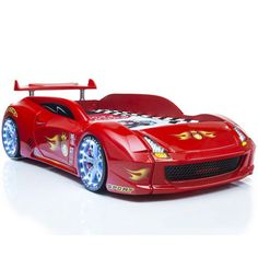 Lamborghini Children Car Bed In Red With LED Lights