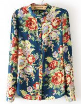 Blue Long Sleeve Floral Chiffon Blouse $21.94