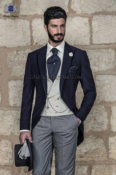 Chaqué azul diplomatico conformado por levita azul y pantalón etiqueta modelo 1190 Ottavio Nuccio Gala colección Gentleman 2015.