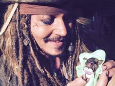 You'll Remember This As The Day Johnny Depp Fed A Baby Bat As Captain Jack Sparrow VIDEO Double Click PIC To Watch The Video It Is So Precious