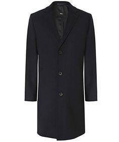 Hugo Boss Black Stratus Wool Overcoat Black