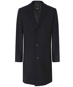 Hugo Boss Black Stratus Wool Overcoat Black