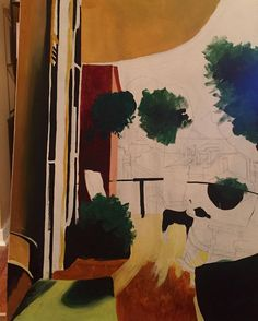 #painting in #progress of my friends #balcony #balconyview #frenchquarter #nola #neworleans #art #artist_community #balconygarden #downtown #sunny #afternoon by drewit