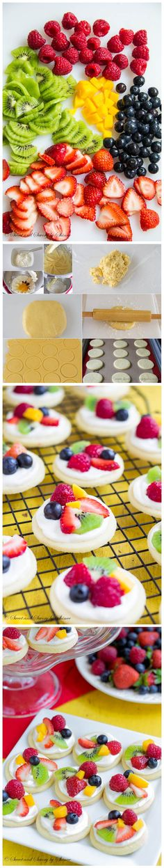 Mini Fruit Pizzas Ingredients: Cookie Crust • 1 cup all-purpose flour • 2 tablespoons cornstarch • ½ teaspoon baking powder • 1/8 teaspoon salt • 1/3 cup unsalted butter, softened • ½ cup su…