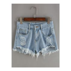 SheIn(sheinside) Blue Ripped Fringe Denim Shorts ($17) ❤ liked on Polyvore featuring shorts, blue, ripped denim shorts, fringe denim shorts, ripped jean shorts, fringe jean shorts and denim short shorts