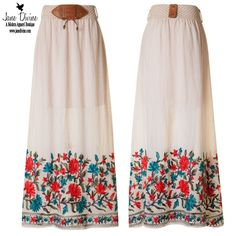 Floral Embroidered Boho Style Maxi Skirt by Jane Divine Boutique www.janedivine.com