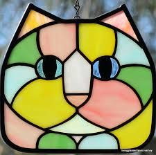 Stained glass pastel calico cat