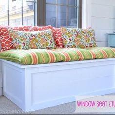 Window Seat Bench Tutorial-porch/toy storage