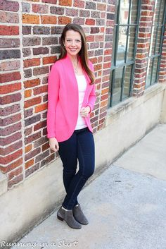 Casual spring outfit idea! Gorgeous pink Lilly Pulitzer Sweater (Amalie Sweater,) jeans and fringe booties shoes. Cute style for transitioning seasons.  Get more 30+ everyday, wearable fashion ideas from Running in a Skirt.