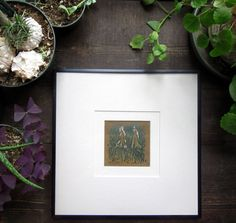 Grassy Feet Mini Woodcut Relief Print Framed by MissyHeagle