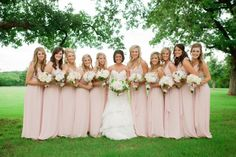 Abby + Hunter | Backyard Oklahoma Wedding. Photo by Candi Coffman Photography. Bridal gown from J.J. Kelly Bridal Salon. Bridesmaids' attire from PRIM. #bridesofoklahoma #bridesmaids #blush #backyardwedding #outdoor #oklahoma #wedding