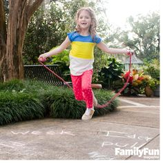 A Jump-Rope Spelling Game: Kids in the elementary grades almost always have spelling lists to memorize and energy to burn. That's why this game is such a brilliant idea. Get a jump on the school year by head for the driveway or sidewalk and practicing tough words before school starts.