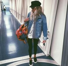 15 Jean Jacket With Leggings Outfits That We Can Not Get Enough Of - : Airport outfit goals! Here are our favorite ways to pair a jean jacket with leggings. We love being able to take something so versatile and make it into whatever we want! Look Fashion, Winter Fashion, Fashion Outfits, Womens Fashion, Fashion Clothes, Hipster Clothing, Travel Clothing, Petite Fashion, Fashion Boots