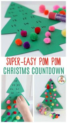 Looking for an advent calendar for kids? This pom pom Christmas tree advent calendar is super easy and makes a great Christmas craft for kids! #christmasideasforkids