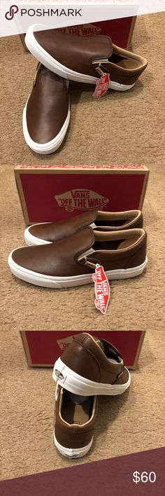 6b6204afd3f4 Lux Leather Classic Slip On Vans New in box.