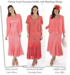 Chesca coral pink plus size Mother of the Bride outfits occasion dresses lace skirts with matching shrugs